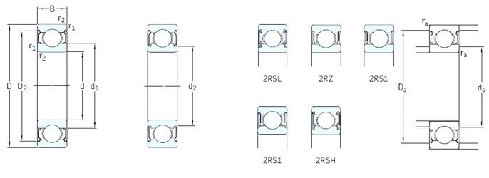 SKF 628/8-2RS1 deep groove ball bearings